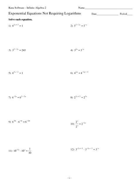 Logarithm Worksheet With Answers by Exponential And Logarithmic Equations Worksheet