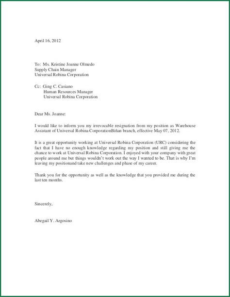 Resignation Letter Template Thank You Thank You Letter Of Resignation