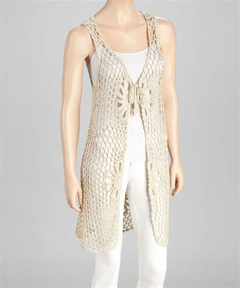 pattern sleeveless cardigan beige crocheted sleeveless open cardigan