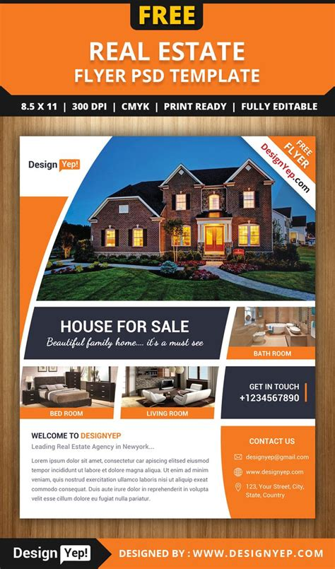 Free Real Estate Flyer Psd Template 7861 Designyep Free Flyers Pinterest Real Estate Real Estate Templates