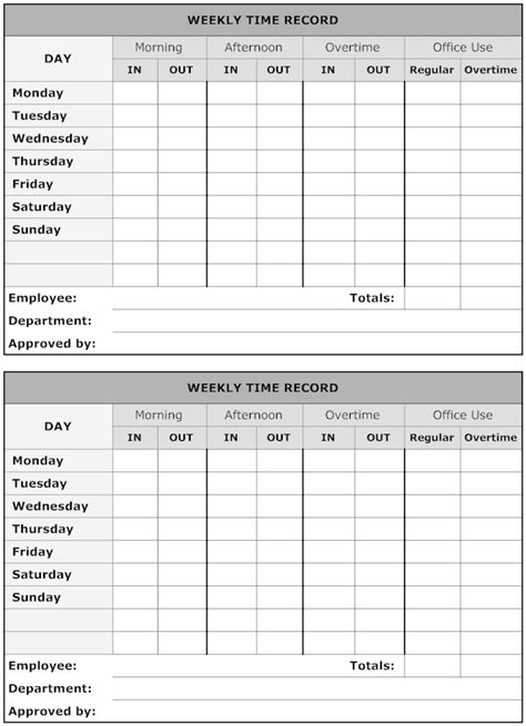 image weekly time record time sheet printable