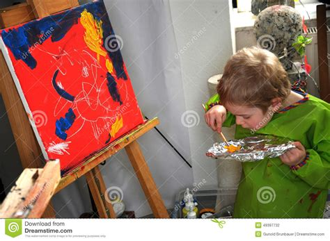 painting 4 year olds painting boy stock photo image 49397732