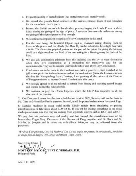 Pastoral Letter on COVID-19 : Diocese of Pasig