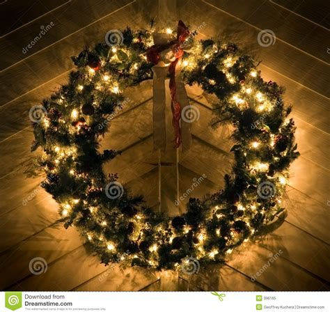 Illuminating Christmas Lights Lighted Christmas Wreath Stock Image Image Of Seasonal