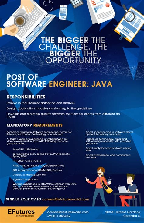 pattern maker male job vacancy in sri lanka software engineer java efutures