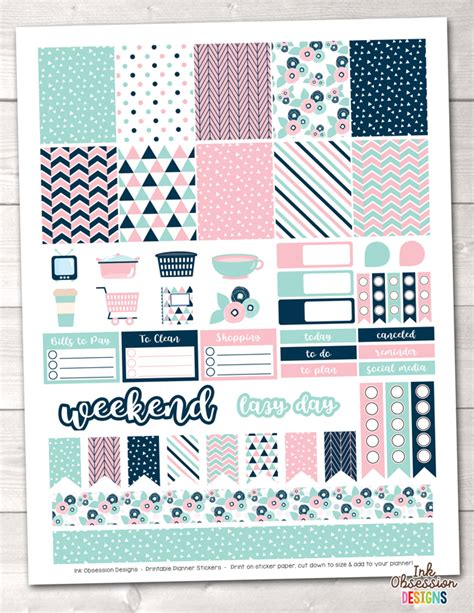 printable planner stickers pdf pink and blue printable planner stickers weekly kit