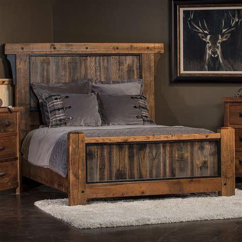 rustic reclaimed barn wood bed