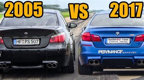 bmw m5 e60 sound bmw m5 e60 v10 vs m5 f10 exhaust sound accelerations