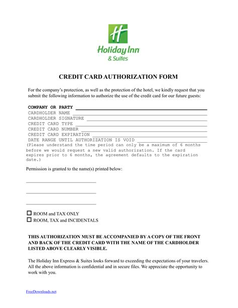 Download Holiday Inn Credit Card Authorization Form Template   PDF   Word   Anything
