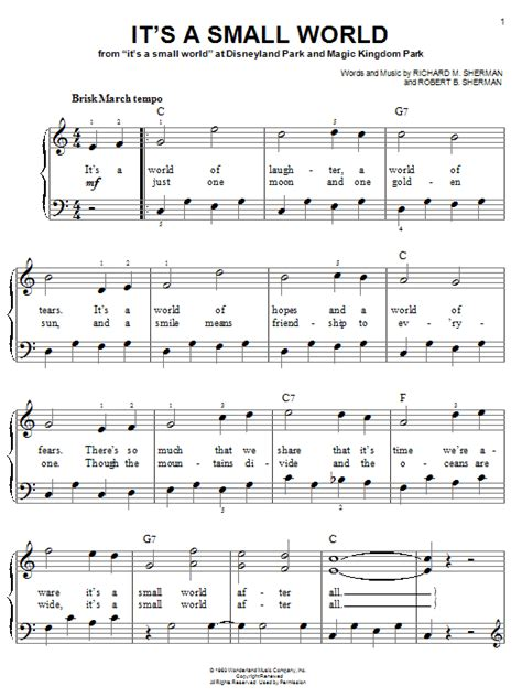 printable lyrics to it s a small world it s a small world sheet music by sherman brothers easy
