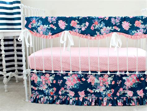 navy and pink bedding navy floral crib rail cover navy and pink nursery baby girl