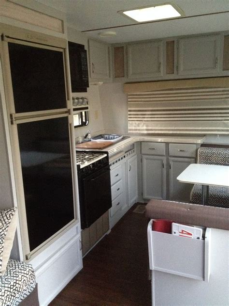 rv cabinets and rv trailer reno grey cabinets new upholstery new floor
