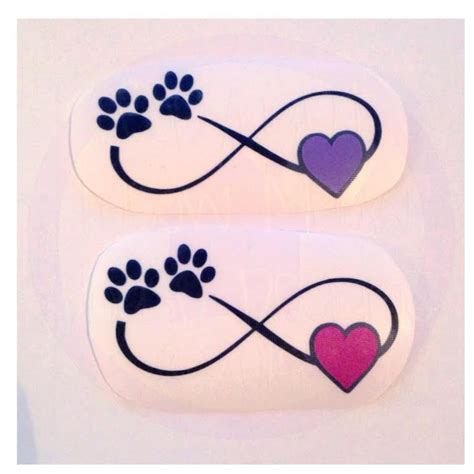 infinity tattoo with dog paw infinity with paw print and heart decal many color options