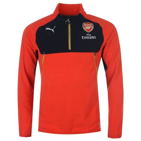 arsenal zip up puma arsenal fc 188 zip long sleeved fleece sweater mens red