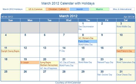 2012 Calendar With Holidays Print Friendly March 2012 Us Calendar For Printing
