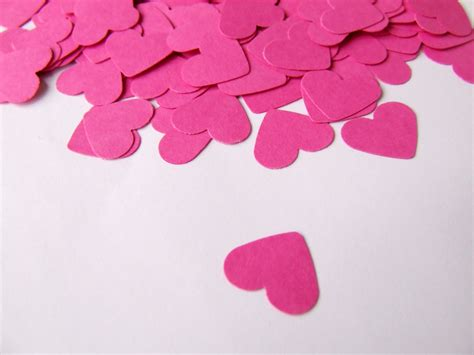 Paper Hearts - wedding confetti hearts valentines day pink paper hearts
