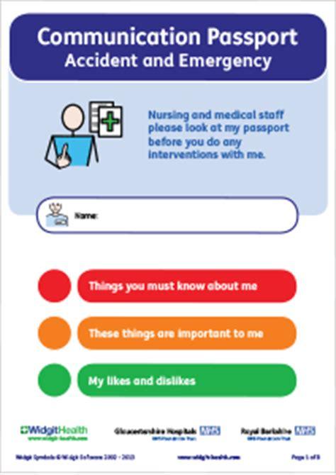hospital passport template widgit health a e communication passport
