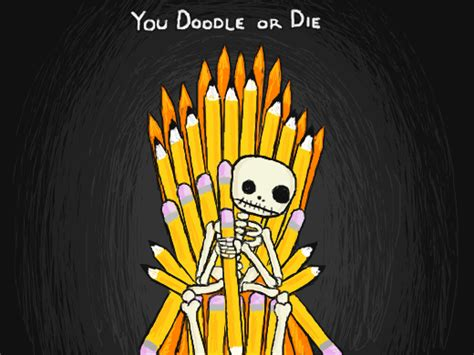 doodle or die the dod skeleton sitting on top of a throne of pencils