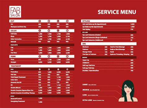 salon service menu template hair stylist haircut salons brochure templates