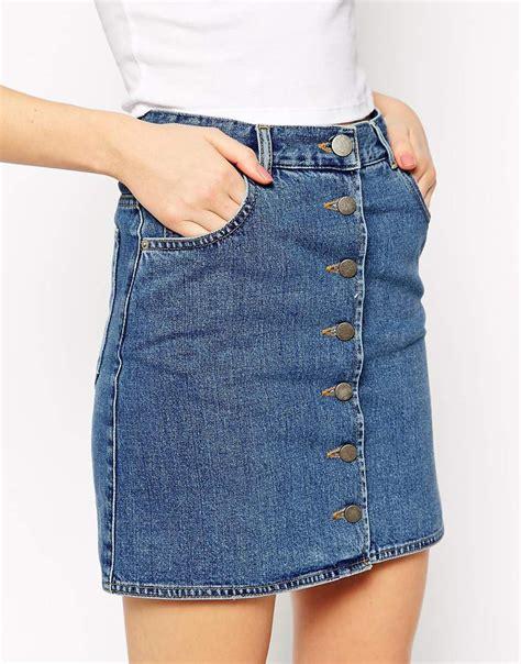 asos denim original high waisted skirt in mid wash blue in