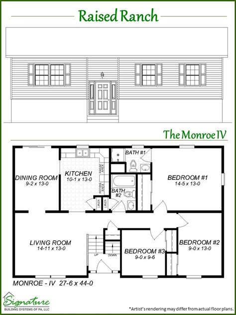 raised homes floor plans raised ranch signature building systems custom modular home manufacturer signature building
