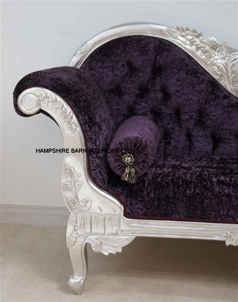 purple crushed velvet chaise a beautiful silver leaf and purple crushed velvet