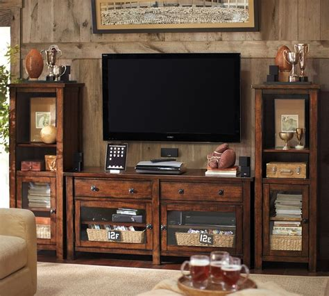 Pottery Barn Living Room Storage Benchwright Media Suite With Towers Pottery Barn Wood