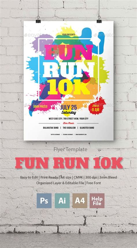 Fun Run 10k Flyer Poster File Size Flyer Template And Template Color Run Flyer Template
