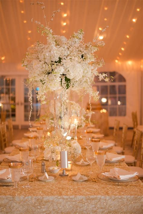 L Centerpiece by An Gold And White Sarasota Wedding Every Last Detail