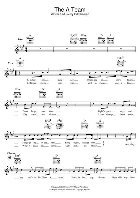 ed sheeran the a team chords the a team chords by ed sheeran melody line lyrics