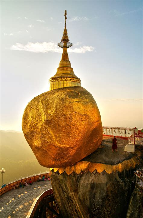 kyaiktiyo pagoda also known as the golden rock in mon state myanmar which used to be burma
