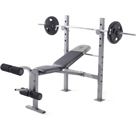 benching at the gym weight bench olympic set w weights adjustable rack