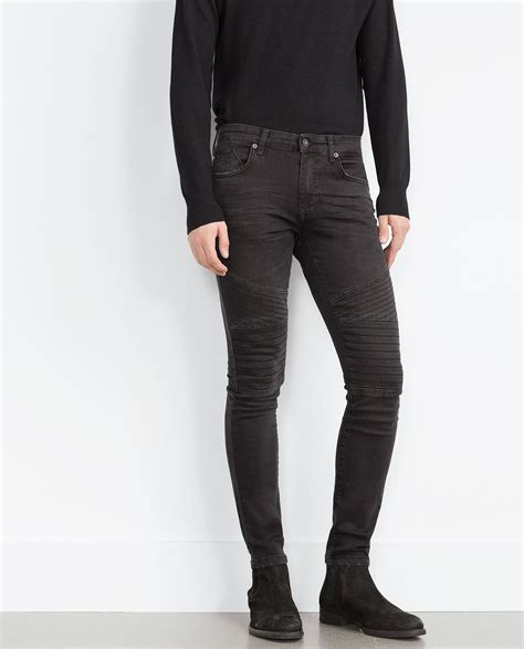zara padded biker denim trousers zara with padded knee patches in black for lyst