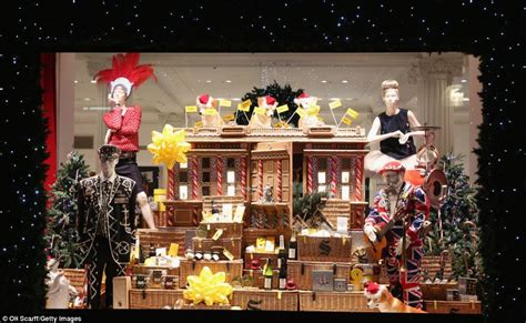 christmas window stores a flying carpet and a gingerbread house s department stores show their