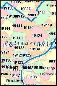 Philly Zip Code Map by Philadelphia Pennsylvania Pa Zip Code Map Downloads