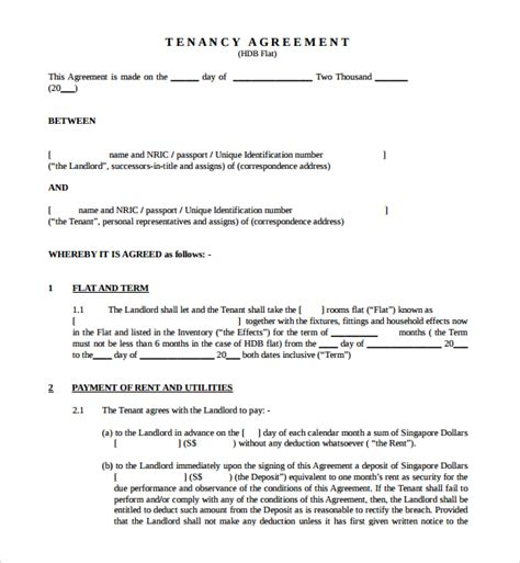 Tenancy Agreement Letter Pdf Sle Tenancy Agreement Template 9 Free Documents In Pdf Word