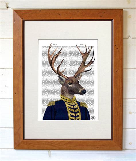 deer home decor deer art print captain deer by fabfunky home decor