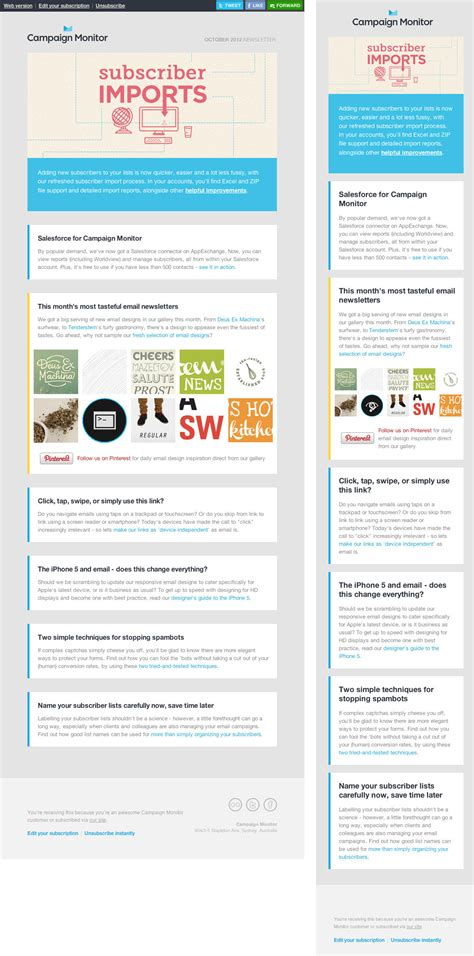 how to layout an email newsletter learning by exle 9 more responsive emails marketing land
