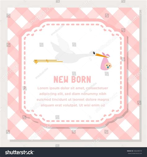 Baby Born Card Template by Baby Shower New Born Baby Card Stock Vector 500208574