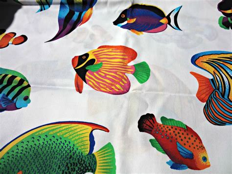 fish print upholstery fabric tropical fish print cotton fabric cranston vip by abbysfabric