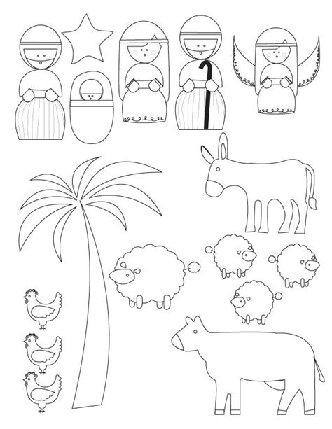 printable nativity scene puppets finger puppets nativity coloring pages