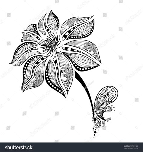 indian flower tattoo draw abstract flower indian stock vector