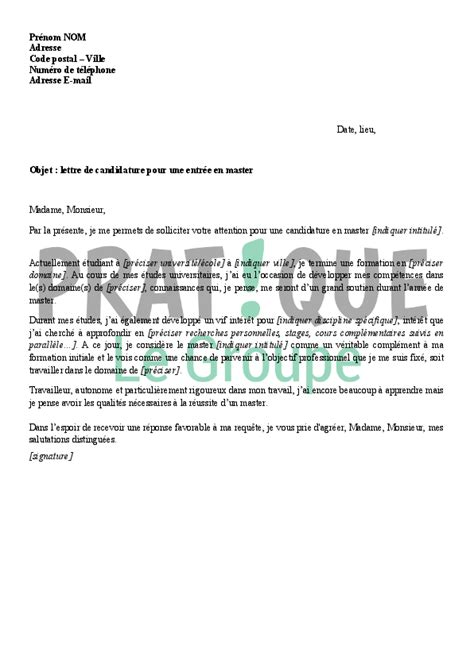 Exemple Lettre De Motivation Inscription école lettre de candidature pour une entr 233 e en master pratique fr