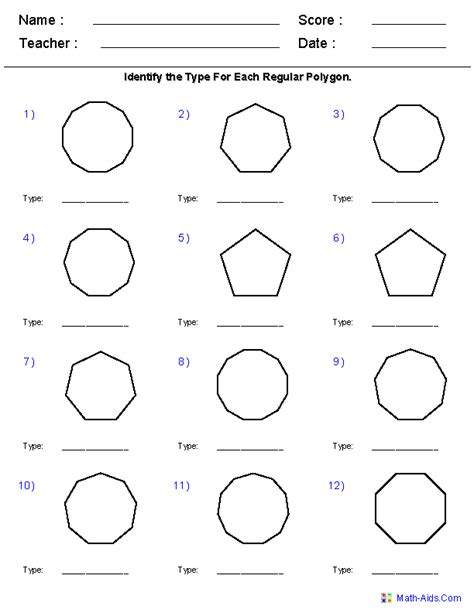 Drawing Diagonals In Polygons Worksheets
