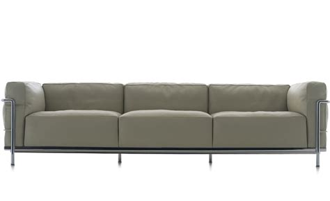 le corbusier sofa lc3 le corbusier lc3 three seat sofa with cushions
