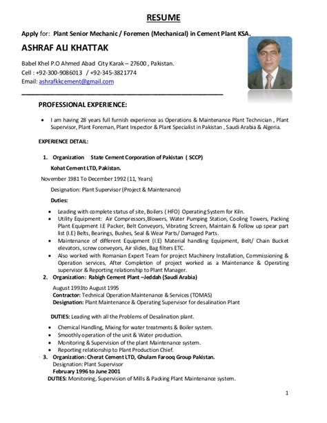 Resume Mechanical Engineer Cement Plant Ashraf Ali Cv 1 4