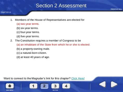 chapter 10 section 2 the house of representatives answers congress