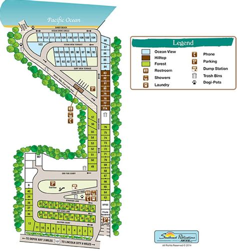 map of oregon rv parks site map sea and sand rv park