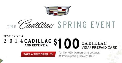 Free Gift Card With Test Drive - free 100 visa gift card with test drive at cadillac sweetfreestuff com