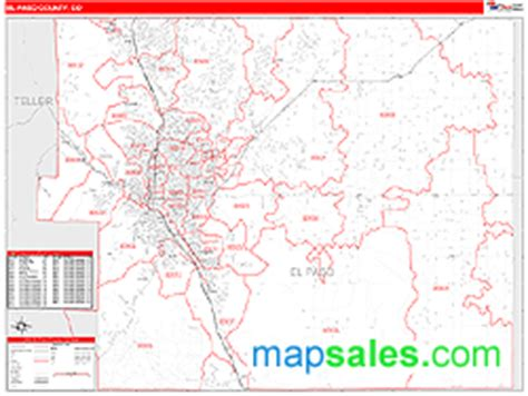 zip code map el paso county el paso county co zip code wall map red line style by